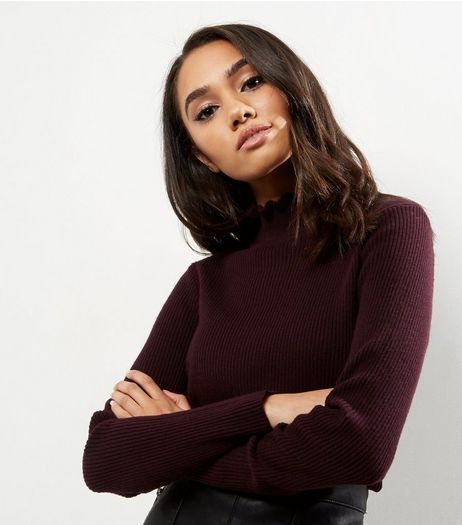 Petite Burgundy Frill Trim Funnel Neck Neck Jumper | New Look