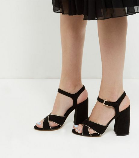 Black Suedette Ankle Strap Sandals | New Look