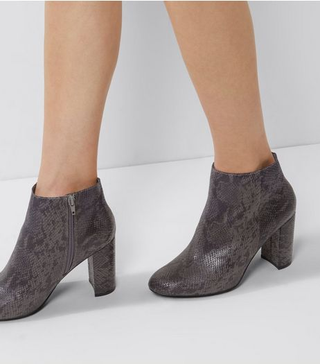 Wide Fit Dark Grey Snakeskin Block Heel Boots | New Look
