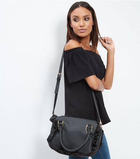 Black Frill Trim Tote Bag | New Look
