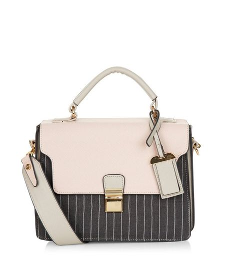 Pink Contrast Pinstripe Shoulder Bag | New Look