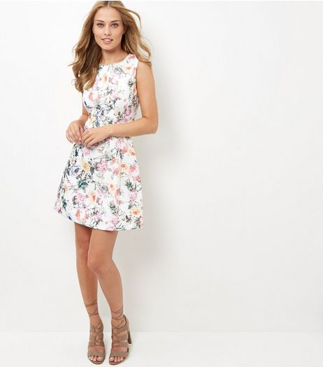AX Paris White Floral Print Skater Dress | New Look