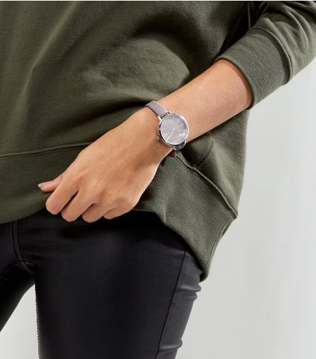 Dark Grey Textured Watch | New Look