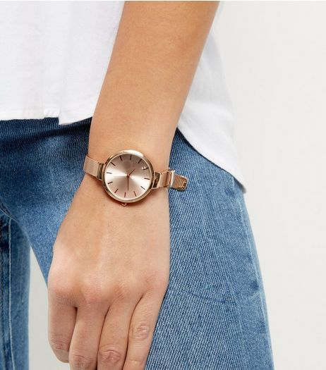 Rose Gold Skinny Mesh Strap Watch | New Look