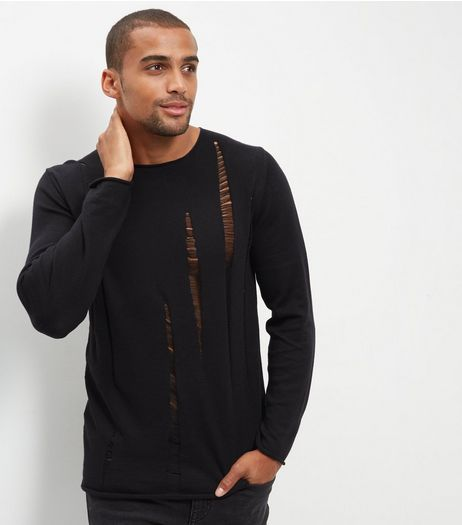 Black Laddered Crew Neck Knit Jumper | New Look