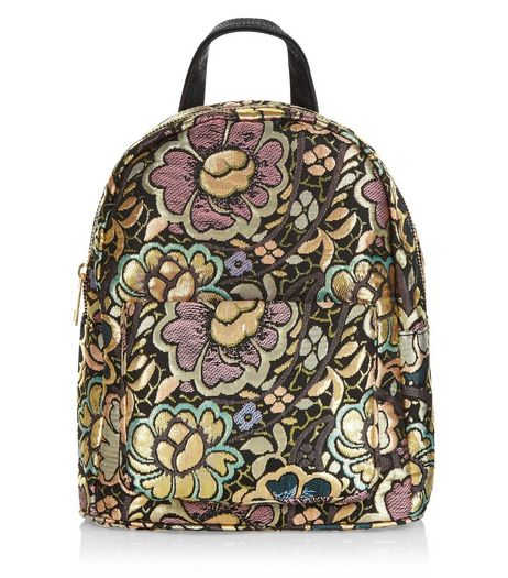 Gold Flower Jacquard Texture Mini Backpack | New Look