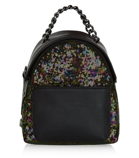 Black Sequin Mini Backpack | New Look