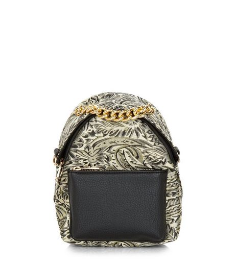 Black Leaf Print Chain Mini Backpack | New Look