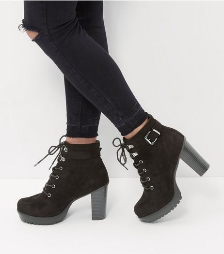 Wide Fit Black Suedette Buckle Strap Lace Up Boots  | New Look