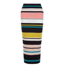 Cameo Rose Black Stripe Midi Skirt | New Look