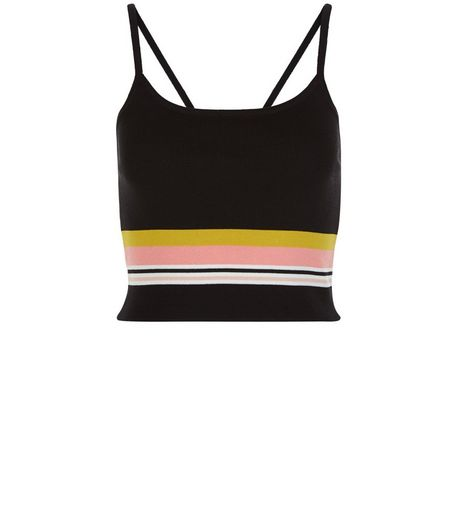Cameo Rose Black Stripe Crop Top | New Look