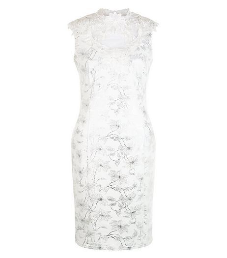 Cameo Rose White Floral Print Metallic Crochet Panel Dress | New Look