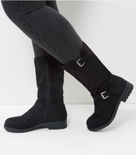 Wide Fit Black Suedette Buckle Strap Biker Boots  | New Look