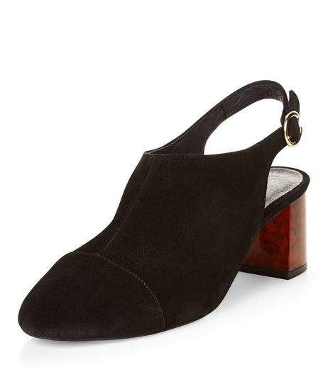 Black Premium Leather Sling Back Block Heels | New Look