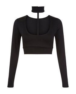 Parisian Black Choker Long Sleeve Crop Top | New Look