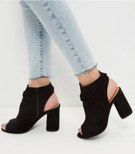 Wide Fit Black Suedette Ruched Front Peep Toe Heels | New Look