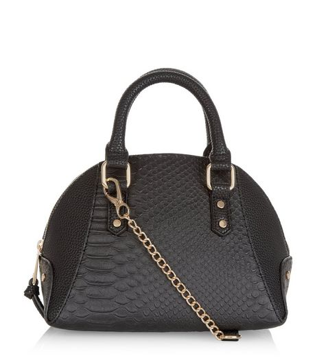 Black Snakeskin Texture Bowler Bag | New Look