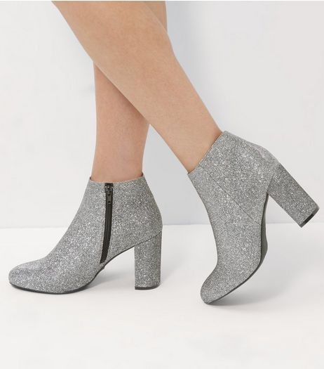 Wide Fit Silver Glitter Block Heel Ankle Boots  | New Look