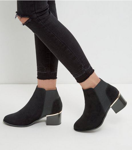 Wide Fit Black Suedette Metal Trim Chelsea Boots | New Look