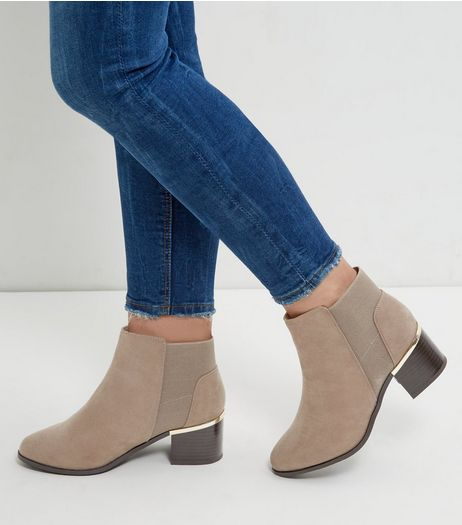 Wide Fit Light Brown Suedette Metal Trim Chelsea Boots | New Look