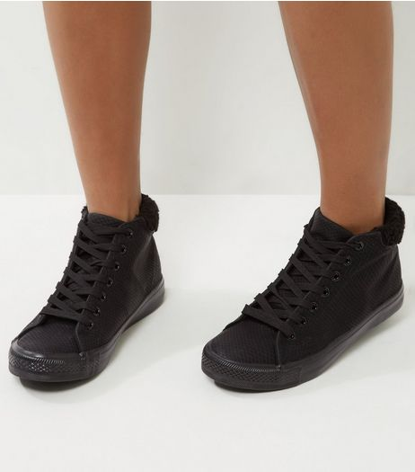 Black Snakeskin Hi-Top Trainers | New Look