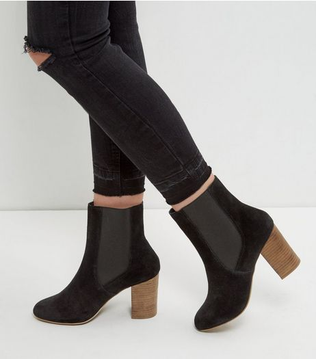 Wide Fit Black Suede Block Heel Chelsea Boots | New Look
