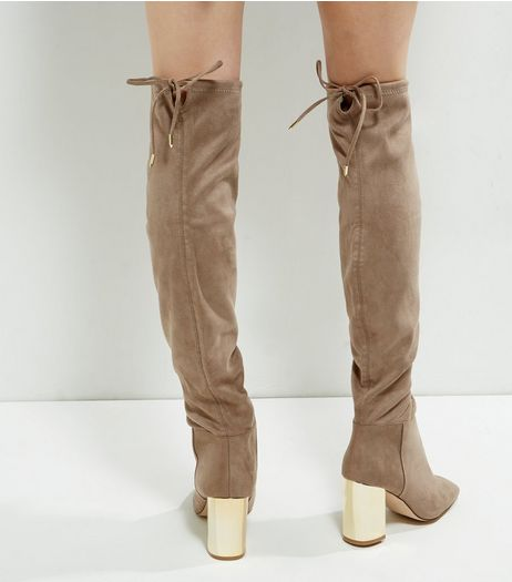 Wide Fit Brown Suedette Over The Knee Metal Heeled Boots | New Look