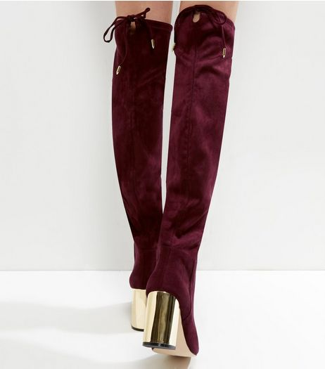 Wide Fit Burgundy Suedette Over The Knee Metal Heeled Boots | New Look