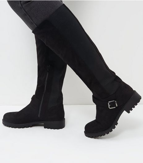 Wide Fit Black Suedette Elasticated Knee High Boots  | New Look