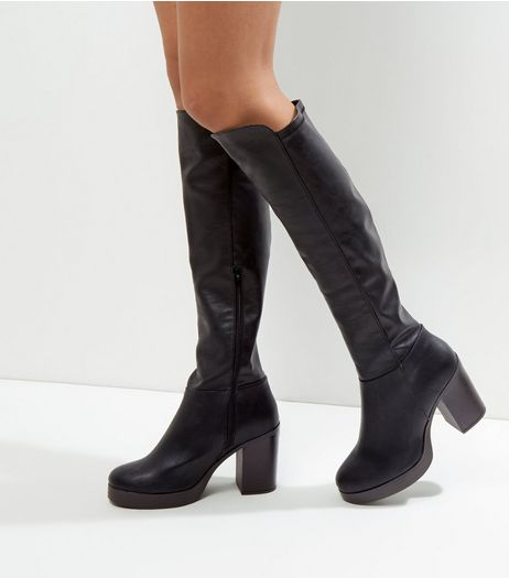 Wide Fit Black Over The Knee Contrast Sole Heeled Boots | New Look