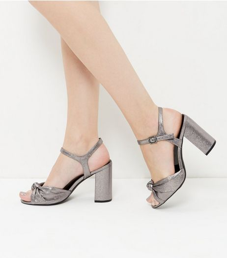 Wide Fit Pewter Leather-Look Knot Block Heels | New Look