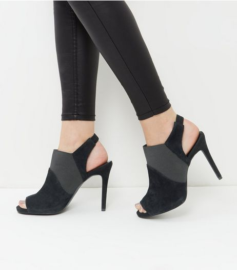 Wide Fit Black Leather Elasticated Sling Back Heels | New Look
