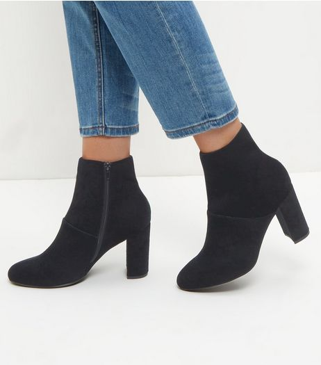 Wide Fit Black Velvet Block Heel Ankle Boots  | New Look