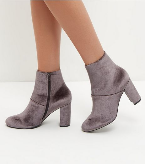 Wide Fit Grey Velvet Block Heel Ankle Boots  | New Look