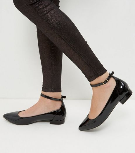 Wide Fit Black Patent Ankle Strap Pointed Pumps  | New Look