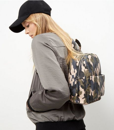 Green Camo Print Mini Backpack | New Look