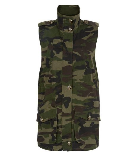 Cameo Rose Green Camo Print Sleeveless Jacket | New Look