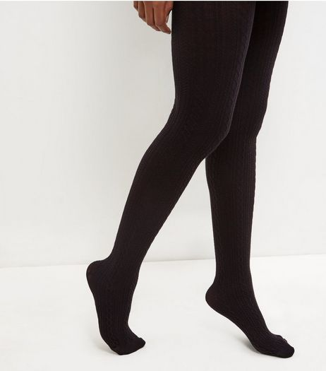 Black Cotton Mix Tights | New Look