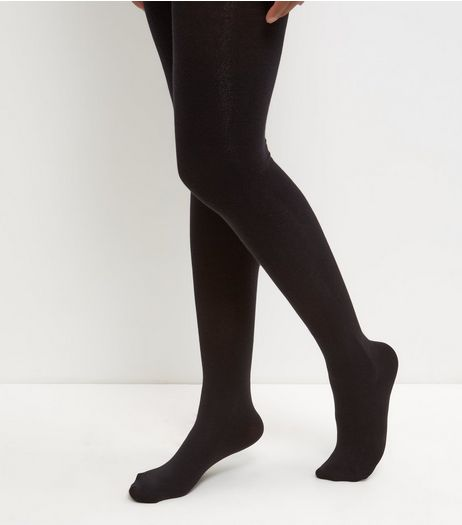 Black Cotton Mix Cable Knit Tights  | New Look