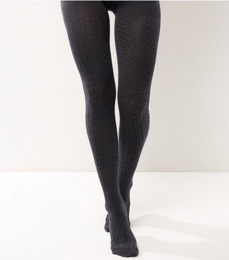 Dark Grey Cotton Mix Cable Knit Tights | New Look