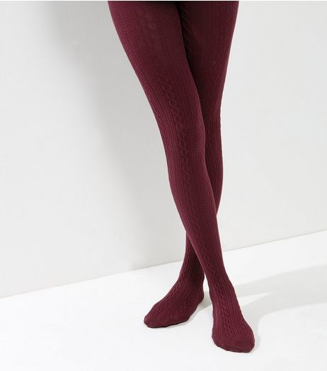 Burgundy Cotton Mix Cable Knit Tights | New Look