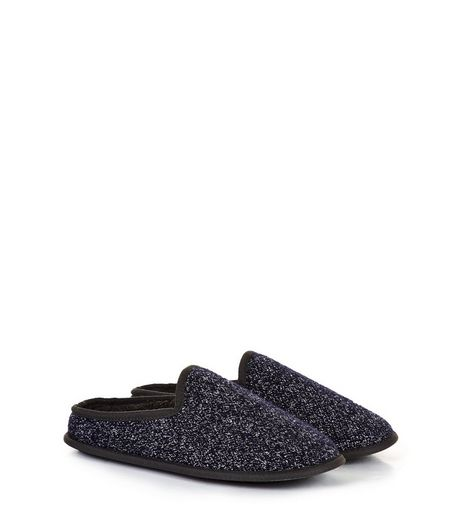Black Flecked Mule Slippers | New Look