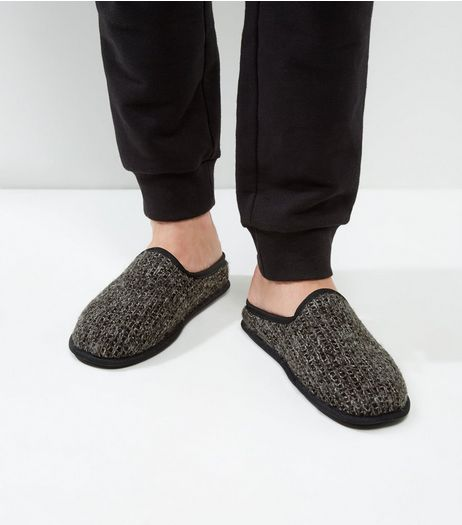 Dark Grey Knitted Slipper Mule  | New Look