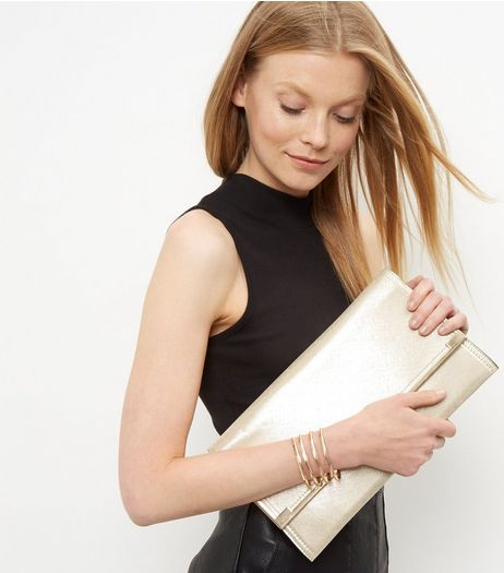 Black Gold Trim Clutch | New Look