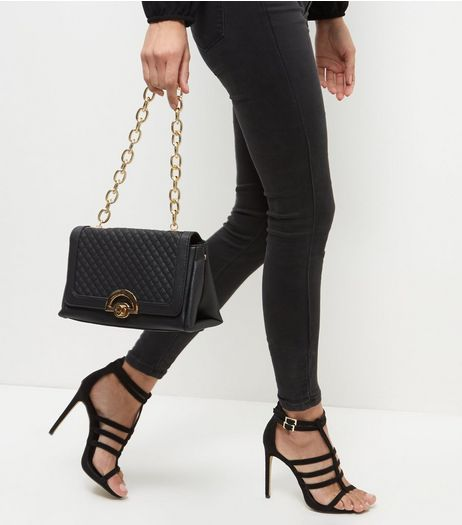Black Quilted Chain Bag  | New Look