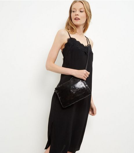 Black Sequin Across Body Bag | New Look