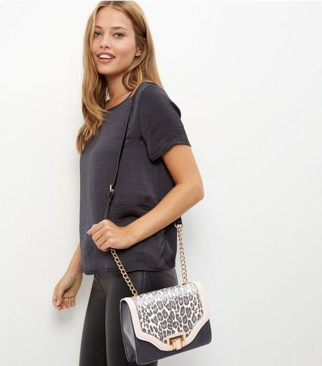 Brown Leopard Print Panel Shoulder Bag | New Look