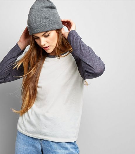Dark Grey Raglan Sleeve Top | New Look