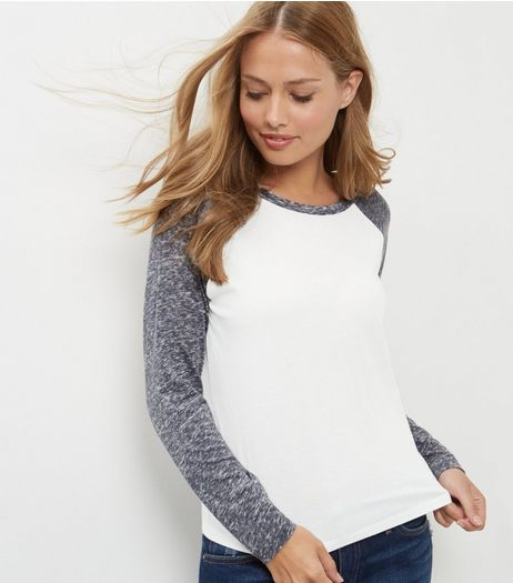Blue Washed Raglan Sleeve Top  | New Look