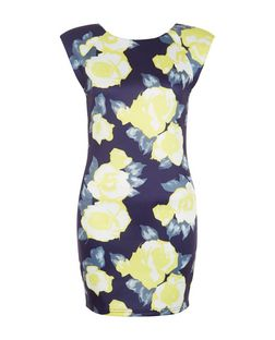 AX Paris Navy Floral Print Bodycon Dress | New Look